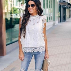Vici white eyelet big sur top
